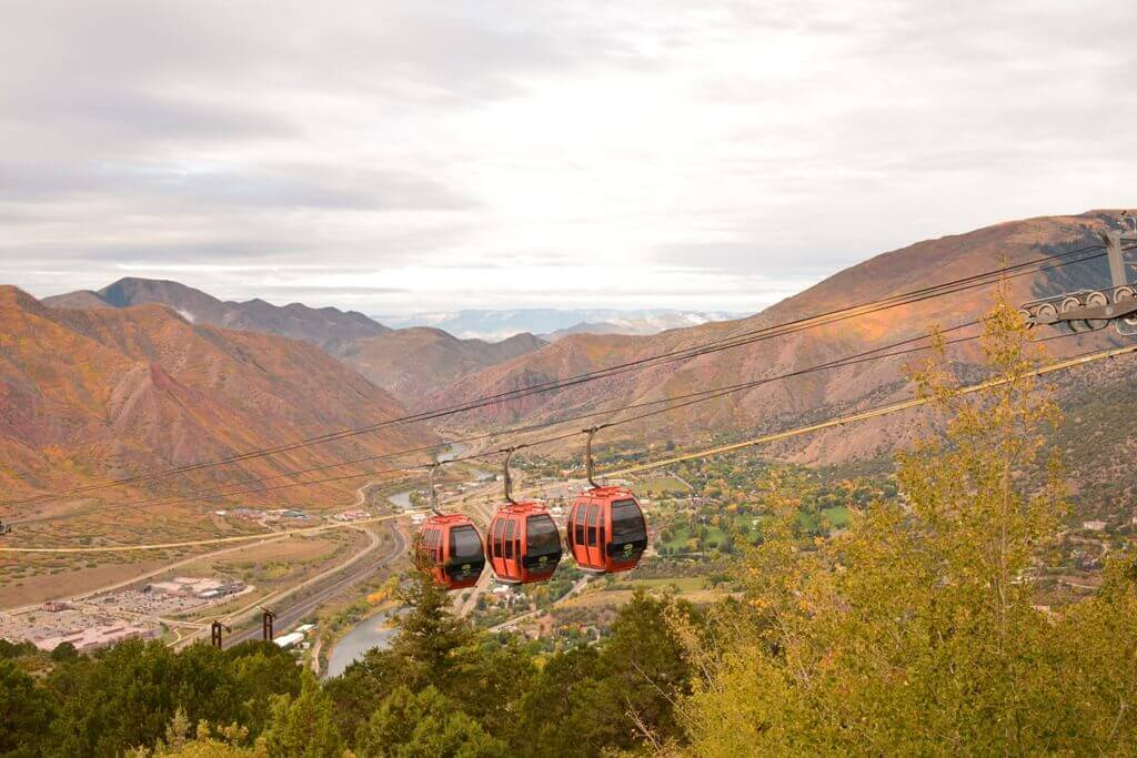 Enjoy a fall ride aboard the Glenwood Gondola