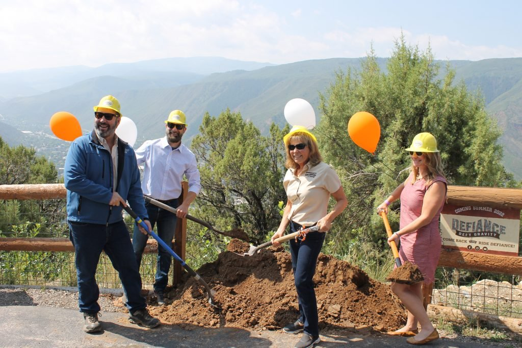 Ground breaking ceremony for the Adventure Park's new roller coaster called Defiance